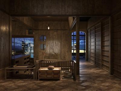日式小屋夜景模型3d模型
