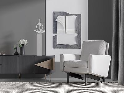 新中式單椅邊柜模型3d模型