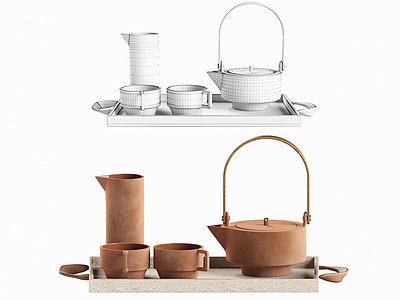 現代茶壺茶具模型3d模型