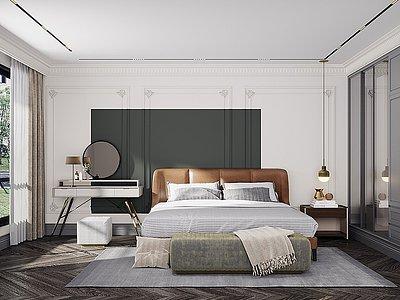 現代簡歐臥室模型3d模型