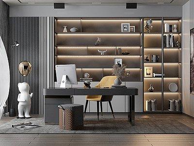 現代風格書房模型3d模型