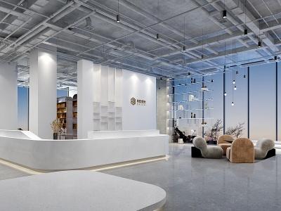 現代裝飾公司大堂前臺模型3d模型