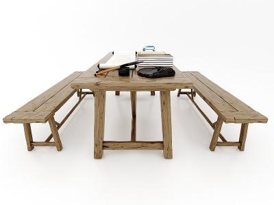 現代風格實木桌椅模型