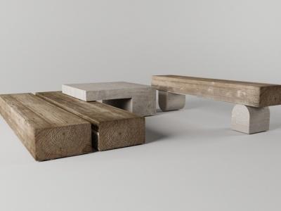 木桌子凳子模型