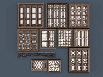 中式風格的窗戶模型3d模型