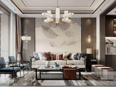 新中式輕奢風格客廳3d模型