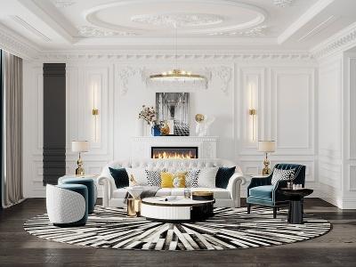 美式客廳模型3d模型