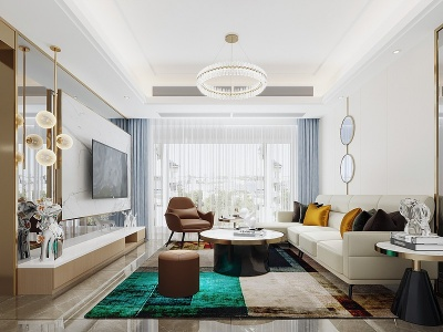 現代簡約客廳模型3d模型