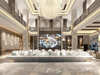 中式售樓大廳休息區模型3d模型
