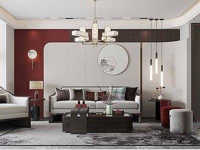 新中式輕奢風格客廳餐廳3d模型