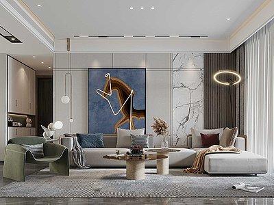 現代輕奢風格客廳餐廳3d模型