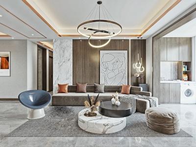 現代輕奢風格客廳3d模型