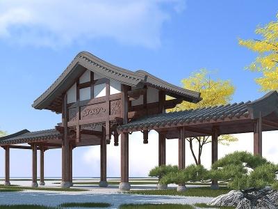 3d古建長廊模型