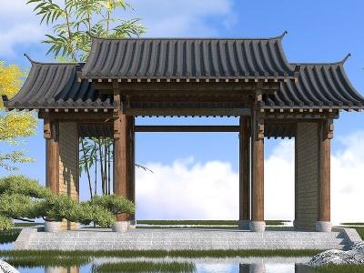 中式大門模型3d模型