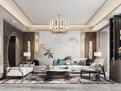 新中式客廳模型3d模型