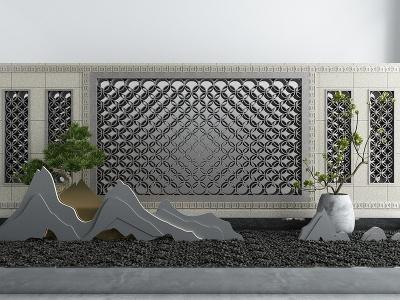 新中式假山鵝卵石景觀小品模型3d模型