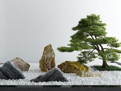 新中式石頭松樹景觀小品模型3d模型