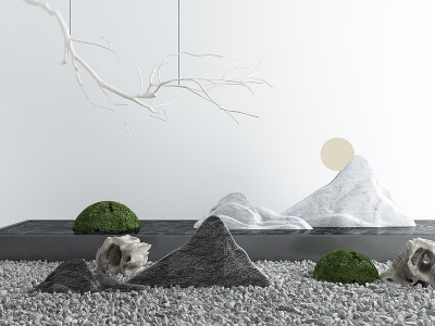 新中式庭院景觀小品模型3d模型