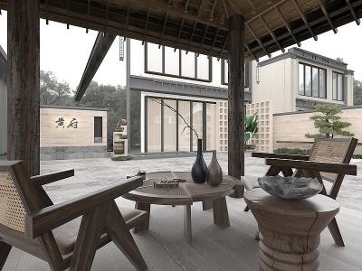 自然風庭院涼亭模型3d模型
