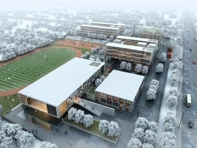 現代學校鳥瞰規劃雪景模型3d模型