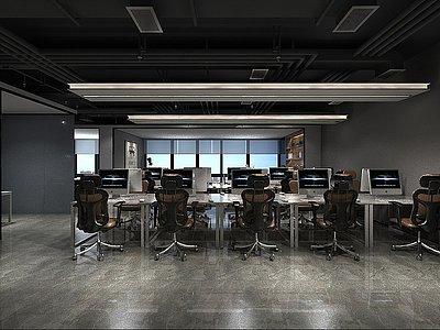 工業風的辦公室模型3d模型