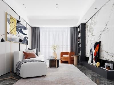 C4D現代簡約客廳3d模型模型