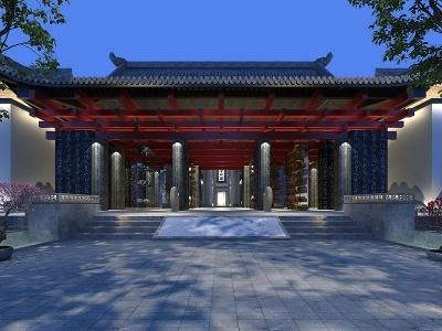 中式建筑外觀模型3d模型