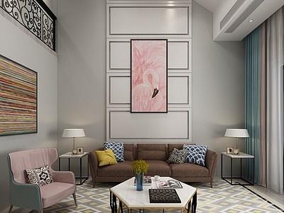 后現代復式客廳模型3d模型