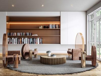 現代客廳沙發茶幾裝飾柜模型3d模型