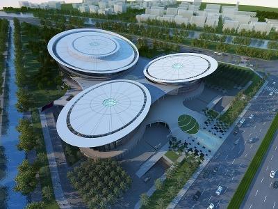 行政中心-鳥瞰黃昏模型