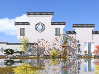 中式景墻,江南水鄉3d模型