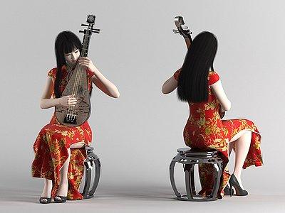 彈奏琵琶的美女模特模型3d模型