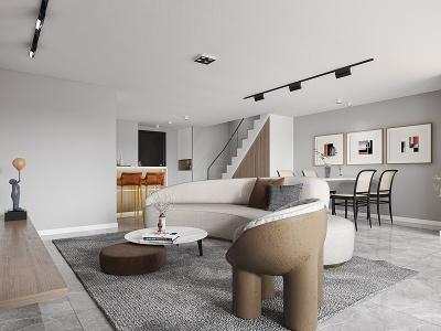 現代簡約公寓模型