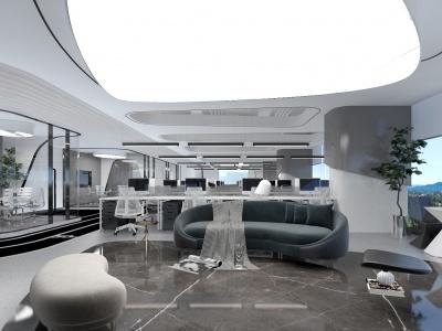后現代簡約辦公室模型3d模型