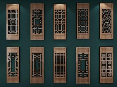 新中式窗花花格窗戶模型3d模型