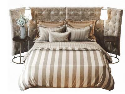 現代絨布綢緞雙人床模型3d模型