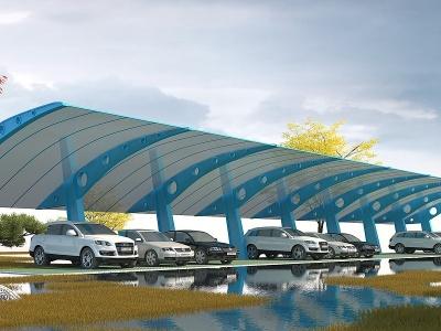 現代停車棚模型3d模型