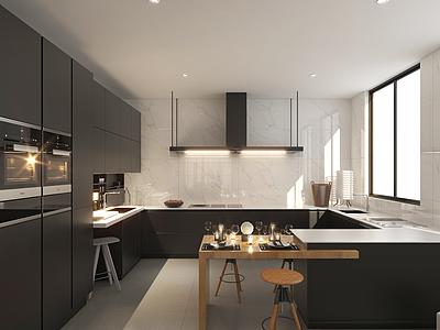 別墅一樓廚房模型