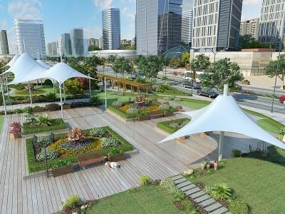 現代風格的公園模型3d模型