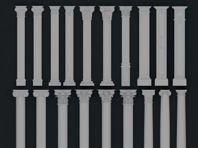 歐式雕花羅馬柱模型3d模型