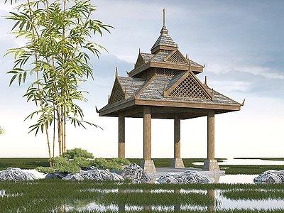 東南亞亭子模型3d模型