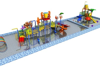 水上樂園3d模型