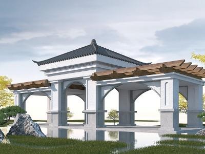 新中式亭子長廊模型3d模型