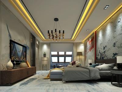 新中式風格酒店客房模型3d模型