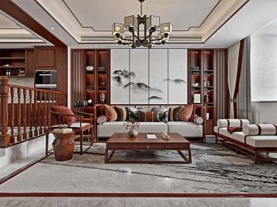 新中式風格客廳餐廳3d模型