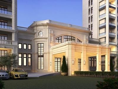 歐式酒店門頭模型3d模型