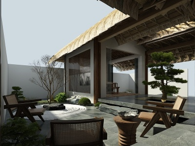 自然風民宿庭院模型3d模型