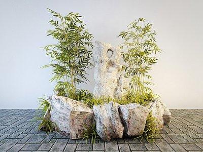 中式假山石頭竹子景觀小品模型