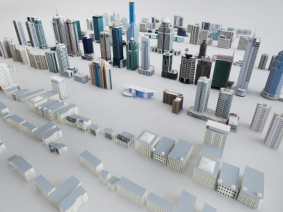 室外鳥瞰配樓樓房簡模模型3d模型