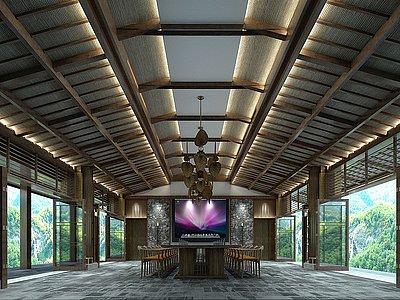 C4D海航五指山多功能廳餐廳模型